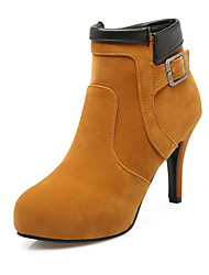 Women's Boots Fall / Comfort / Round Toe  Wedding / Outdoor / Dress Cone Heel Buckle / Split JointBlack / Yellow /