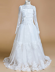 A-line Sweep / Brush Train Flower Girl Dress - Lace Jewel with Appliques Bow(s)