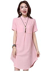 Summer/Fall Women's Casual/Daily Loose/Shirt Dresses Solid Shirt Collar Short Sleeve Knee-length Dress