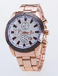 Men's Rose Gold Alloy Steel Strip Watch Three Six-Pin Single Calendar Quartz Watch Literally Double