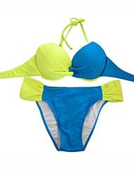 Bikinis Aux femmes Couleur Pleine / Push Up Bandeau Nylon / Spandex