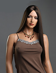 Black Color Long Straight Wigs Capless Synthetic Wigs For Women