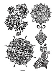 6pcs Black Flower Lace Women Henna Wing Flower Dreamcatcher Temporary Totem Tattoo Sticker