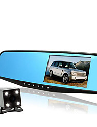 hd doble lente de visión nocturna que conduce el coche grabadora de gran angular HD grabador de visión trasera espejo