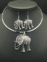 Vintage Retro Elephant Animal Pendant Necklace Drop Earrings Jewelry Set