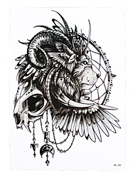 1pc Temporary Tattoo Indian Lion Design Beauty Women Men Skull Wing Body Art Waterproof Tattoo Paint Sticker HB-385