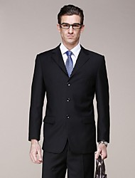 2017 Suits Standard Fit Notch Single Breasted Three-buttons Polyester Solid 2 Pieces Black Straight Flapped