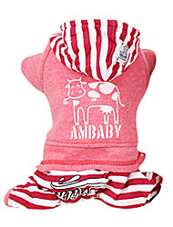 Dog Hoodie / Clothes/Jumpsuit Red / Gray Dog Clothes Winter / Spring/Fall Stripe Fashion / Casual/Daily