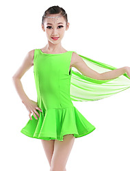 Latin Dance Dresses Children's Performance Chinlon Ruched 1 Piece Latin Dance Sleeveless Natural Dress