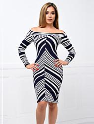 Women's Casual Formal  Simple Sheath DressStriped Boat Neck Knee-length Long Sleeve