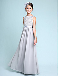 LAN TING BRIDE Floor-length Chiffon Lace Junior Bridesmaid Dress Sheath / Column Bateau Natural with Lace