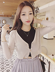 Women's Casual/Daily Simple Short Cardigan,Solid Multi-color V Neck Long Sleeve Cotton Fall Thin