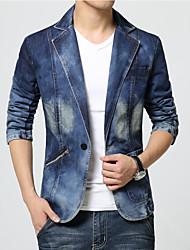 Men's Slim Single Button Suit Collar Denim Jacket,Cotton / Polyester Solid Blue