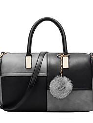 Women PU Casual  Outdoor Office Color stitching High-grade Wool Ball Handbag Shoulder Bag