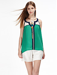Women's Casual/Daily Simple Summer Tank Top,Patchwork Off Shoulder Sleeveless Green Polyester Thin