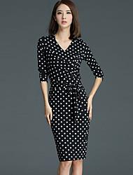 Women's Work Simple Shift Dress,Polka Dot V Neck Knee-length ¾ Sleeve Black Polyester Spring / Fall