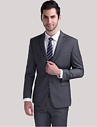 2017 Suits Standard Fit Notch Single Breasted Two-buttons Wool Solid 2 Pieces Gray Straight Flapped