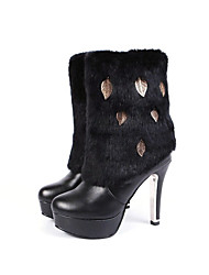 Women's Boots Fall / Winter Snow Boots PU Dress / Casual Stiletto Heel Others Black / White Walking