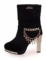 Damen Stiefel Vlies Sommer Normal Perlenstickerei Blockabsatz Schwarz Blau 10 - 12 cm