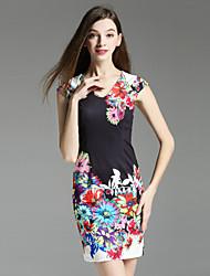 Boutique S Women's Casual/Daily Vintage Shift Dress,Floral V Neck Above Knee Short Sleeve Black Polyester Summer