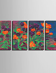 E-HOME® Stretched Canvas Art Tulip Flower Decoration Painting  Set Of 4