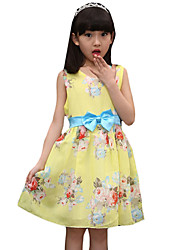Girl's Casual/Daily Floral Dress,Cotton Summer Yellow
