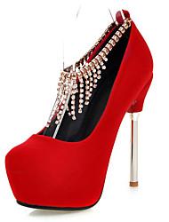 Damen-High Heels-Hochzeit Büro Kleid-Kunstleder-Stöckelabsatz Plateau-Plateau Pumps-Schwarz Rot Weiß
