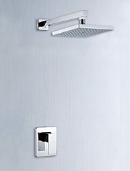 Modern Wall Mounted Handshower Included with  Ceramic Valve Single Handle One Hole for  Chrome , Shower Faucet / Bathtub
