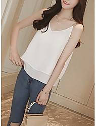 Women's Going out / Casual/ Cute / Street chic Summer Blouse,Solid V Neck Sleeveless Pink / White / Black / Gray
