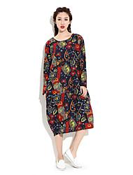 HANBELLE Women's Round Neck Long Sleeve Tea-length Dress-873#