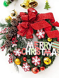 Spray Snow Christmas Wreath Letter Cards Hotel Window Decoration Supplies (40cm)