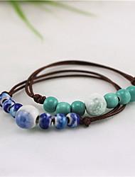 Strand Bracelets 1pc,Blue / Green Bracelet Vintage Round Ceramic Jewellery