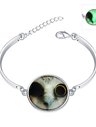 Lureme® New Magical Glow in The Dark 925 Sterling Silver Halloween Luminous Cat Bracelets