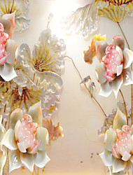 JAMMORY 3D Wallpaper For Home Contemporary Wall Covering Canvas Material Jade Lotus3XL(14'7''*9'2'')