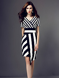 Women's Casual/Daily / Plus Size Vintage Sheath Dress,Striped V Neck Asymmetrical Short Sleeve Blue Polyester All Seasons
