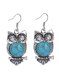 Bohemian Vintage Tibetan Silver Plated Crystal Rhinestone Animal Earring Fashion Turquoise Owl Earrings Jewelry