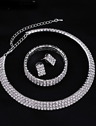 Women's Full Crystal Choker Necklace Tennis Stretch Bracelet  Stud Earrings Wedding Jewelry Set(1 Set)