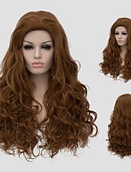 cabelos encaracolados perucas synthtic moda europeus quentes novos bangs oblíqua longa