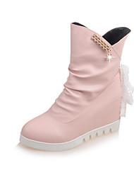 Women's Flats Fall Winter PU Outdoor Casual Flat Heel Satin Flower Black Pink White