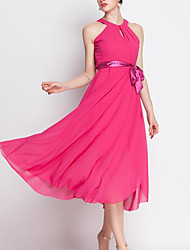 Women's Casual/Daily Sophisticated Swing Dress,Solid Halter Midi Sleeveless Pink Polyester Spring / Summer