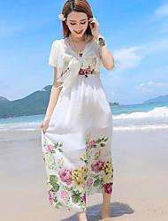 Women's Beach Boho Sheath Dress,Floral Strapless Maxi Sleeveless White Polyester Summer