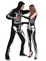 Costumes de Cosplay Costume de Soirée Squelette/Crâne Zombie Fête / Célébration Déguisement d'Halloween Blanc Noir Rétro