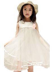 Vestido Chica de-Noche-Un Color-Algodón-Verano-Rosa / Blanco