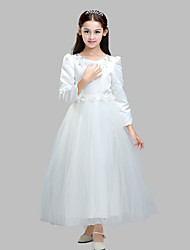 Ball Gown Ankle-length Flower Girl Dress - Cotton / Satin / Tulle Long Sleeve Jewel with Appliques / Crystal Detailing