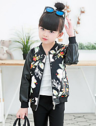 Girl's Casual/Daily Floral Suit & Blazer / Jacket & Coat,PU Spring / Fall Black