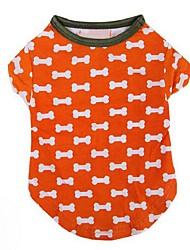 Chien T-shirt Orange Vêtements pour Chien Eté Os Décontracté / Quotidien