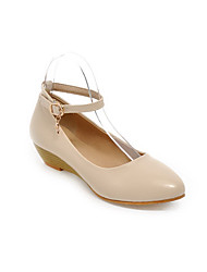 Women's Soft Material Buckle Round Closed Toe Low Heels Solid Pumps-Shoes