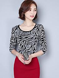 Damen Leopard Sexy Lässig/Alltäglich T-shirt,Rundhalsausschnitt Herbst Langarm Grau Polyester Mittel