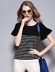 Sybel Frauen Casual / Tages einfach Sommer T-Shirt, gestreift Rundhals Kurzarm Baumwolle schwarz Medium