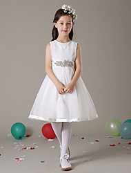 A-line Knee-length Flower Girl Dress - Tulle Sleeveless Jewel with Sash / Ribbon